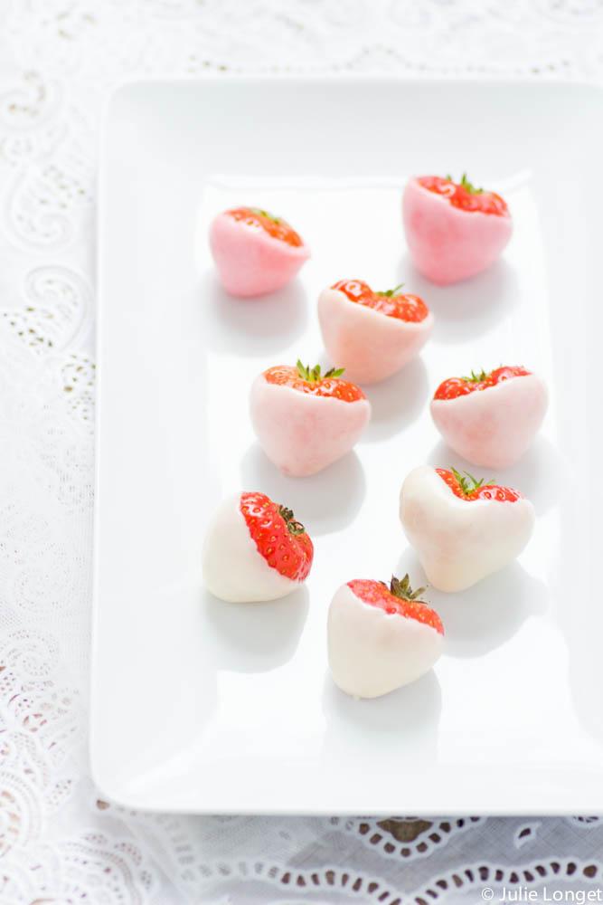 Dégradé de fraises au chocolat blanc