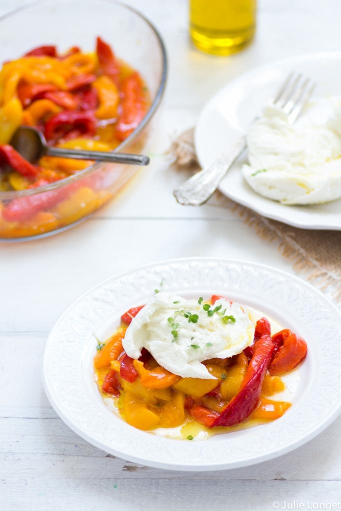 Salade de poivrons grillés à l'huile et Mozzarella di Bufala Campana