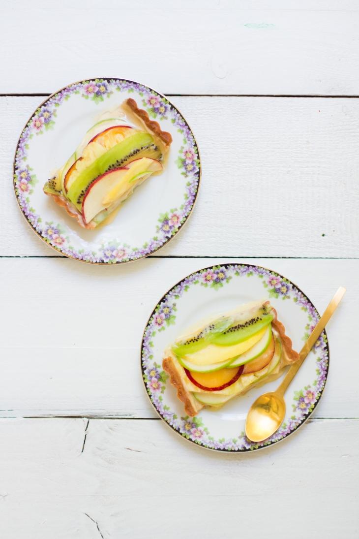 Tarte au carpaccio de fruits, crème pâtissière légère vanillée