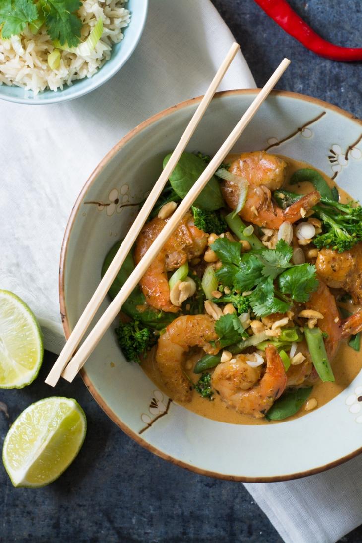 Crevettes et légumes au lait de coco et citronnelle
