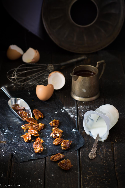 Gateau Marbre Au Yaourt Glacage Chocolat Pecans Caramelisees