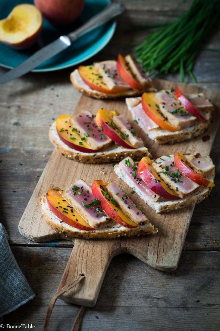 Tartine de thon blanc et nectarines