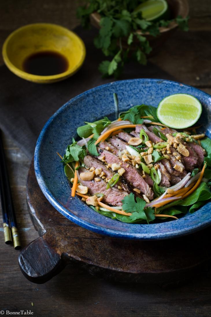 Salade tiède de canard à la thaï