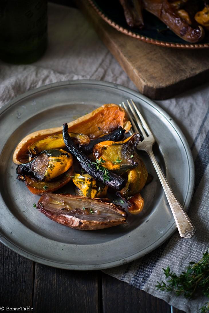 Légumes d'hiver rôtis au miel et thym